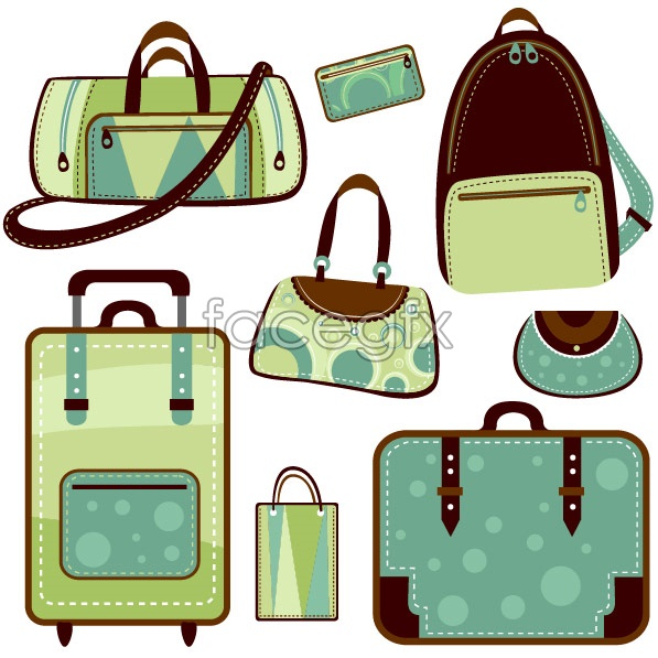Variety of bag vector hand bag backpack dual shoulder bag.