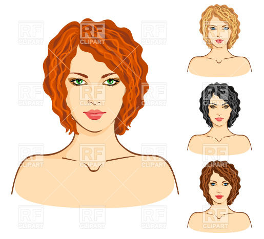 Portrait of woman with red hairdo and nude shoulders Vector Image.