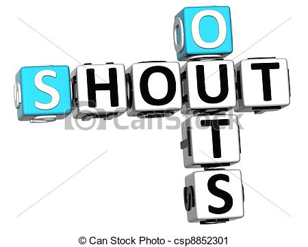 Stock Photographs of 3D Shout Out Crossword cube words on white.