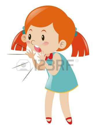 Little Girl Yelling Clipart.