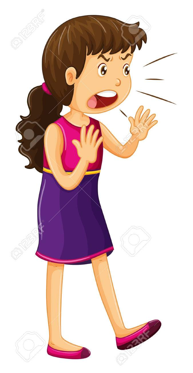 Girl Yelling Clipart.