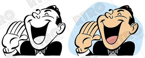 A laughing shouting man vintage retro clip art clipart.