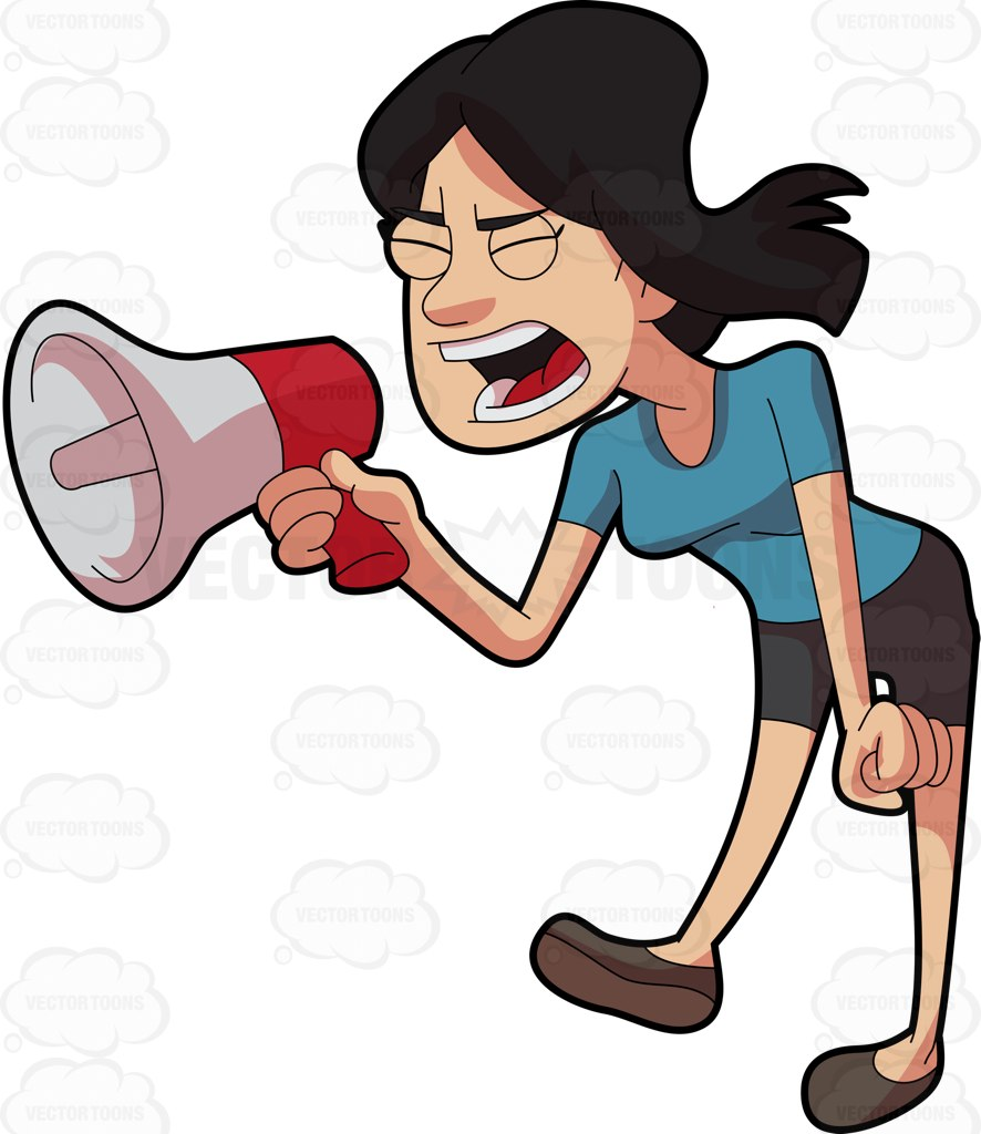 A Woman Shouting Angrily Using A Megaphone Cartoon Clipart.