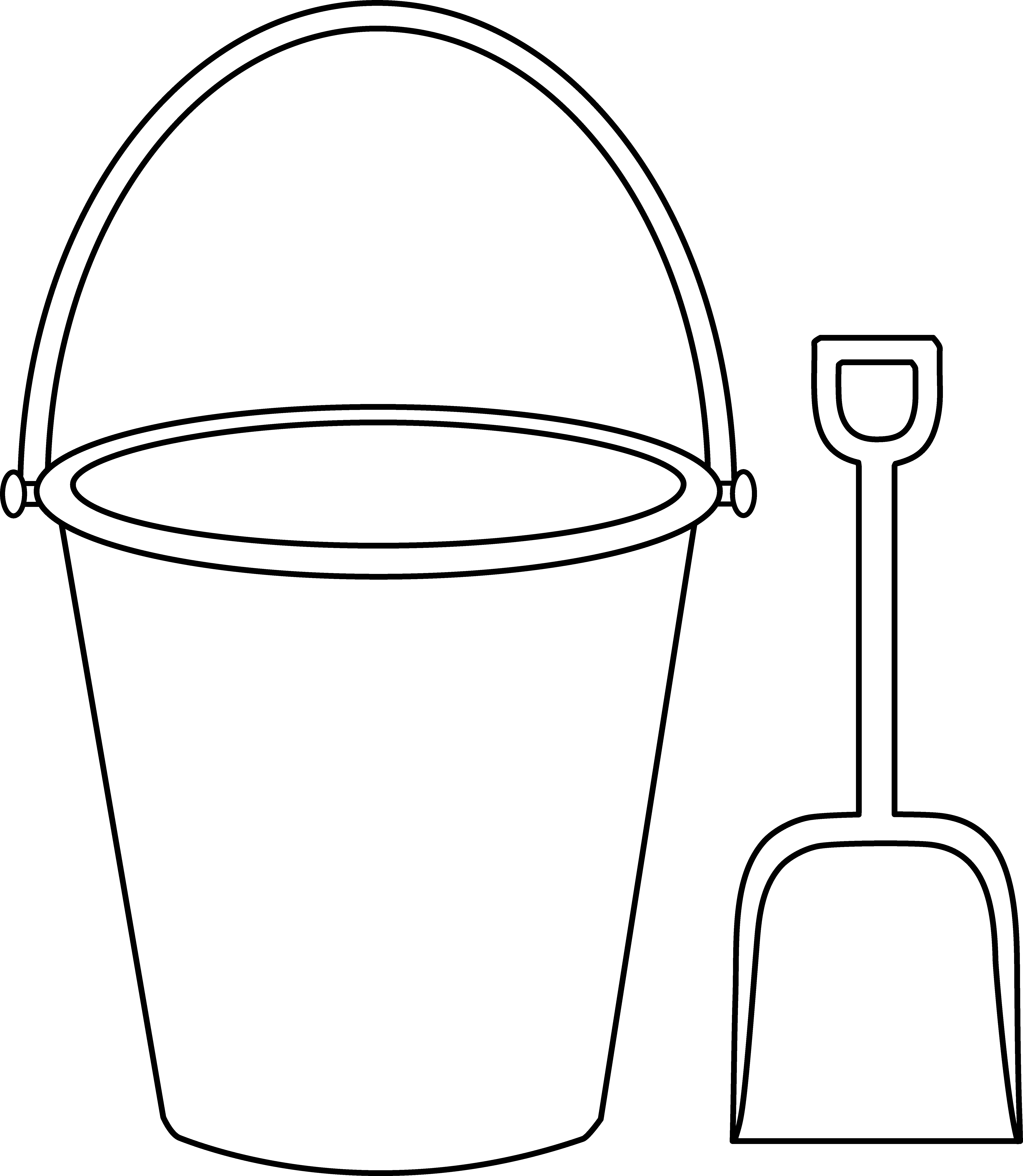 Bucket and Shovel Outline.