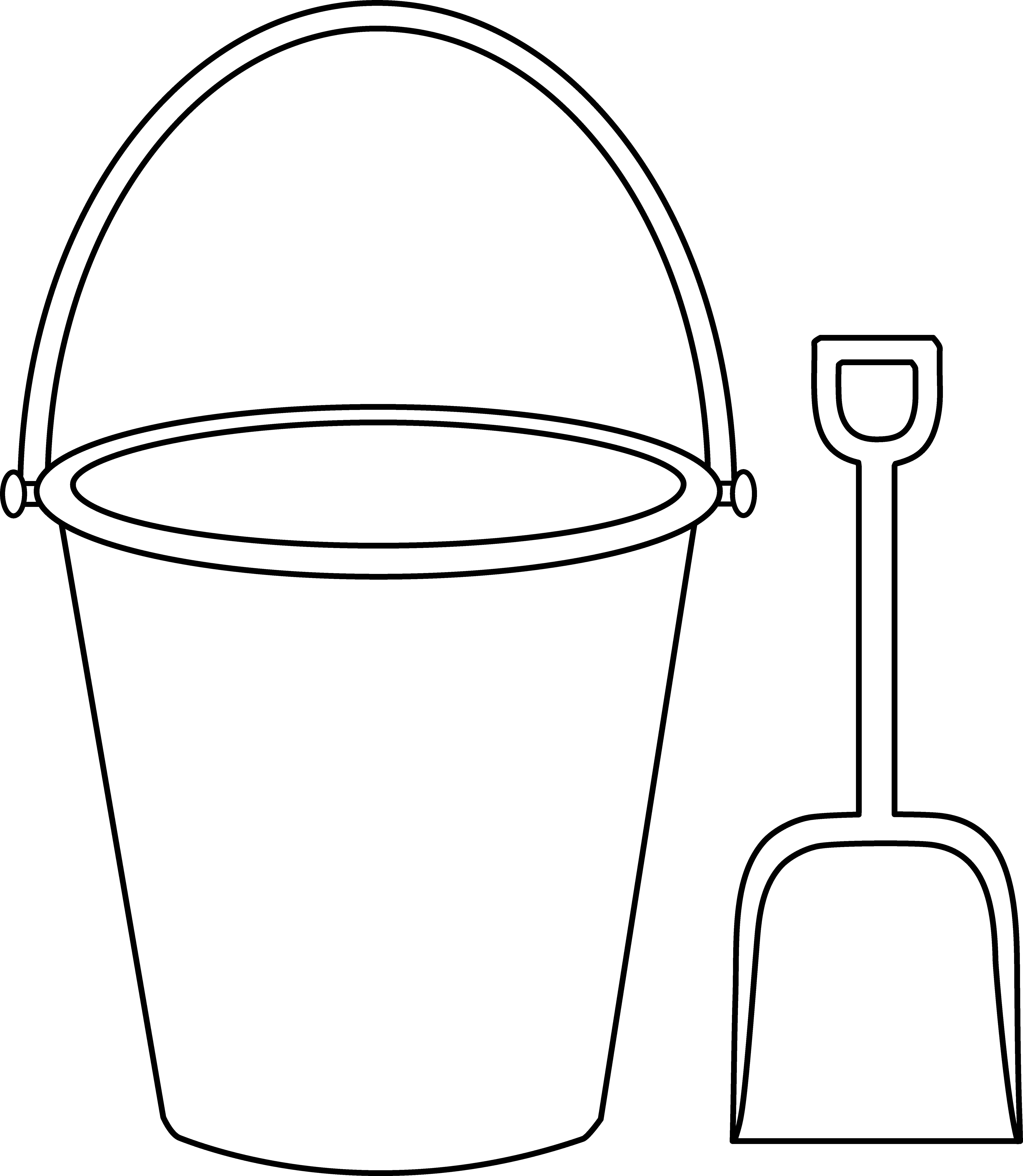 Bucket and Shovel Outline.