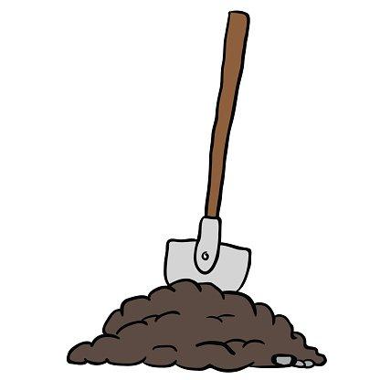 shovel in dirt Clipart Image.