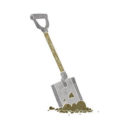 retro cartoon shovel in dirt Clipart Image.