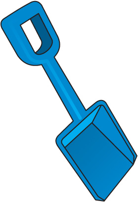 Blue snow shovel clipart.