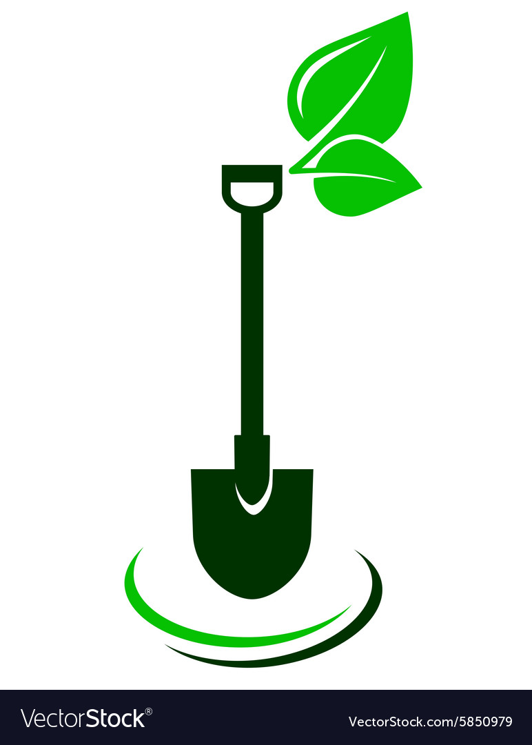 Icon with shovel and green leaf.