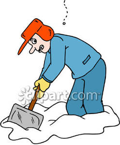 Cartoon of a Man Shoveling Snow.