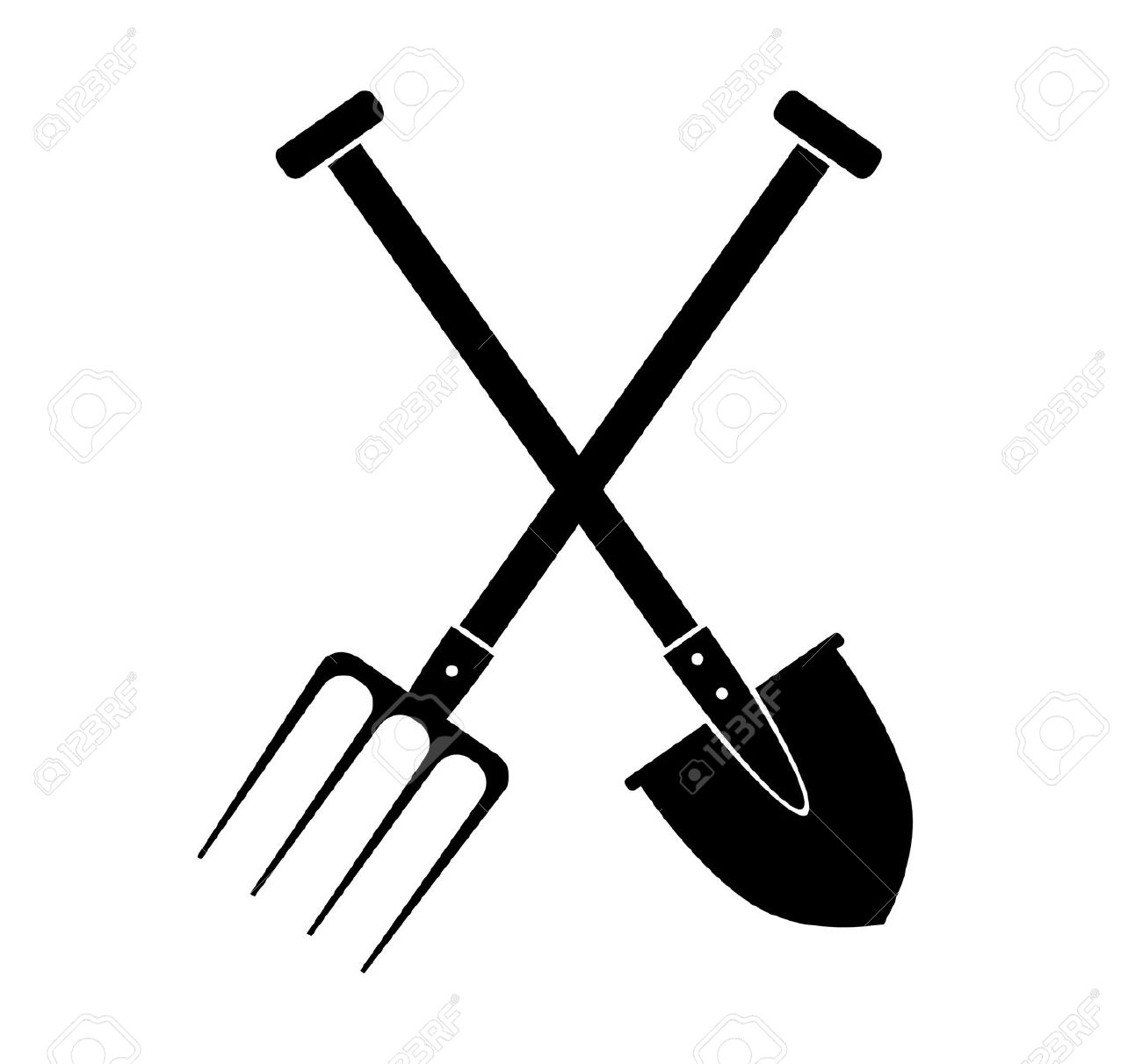 Shovel in black background clipart.