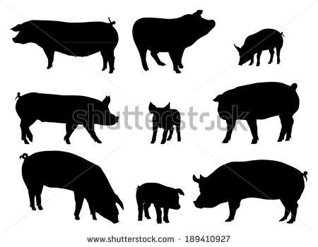 Pig Silhouette Stock Images, Royalty.