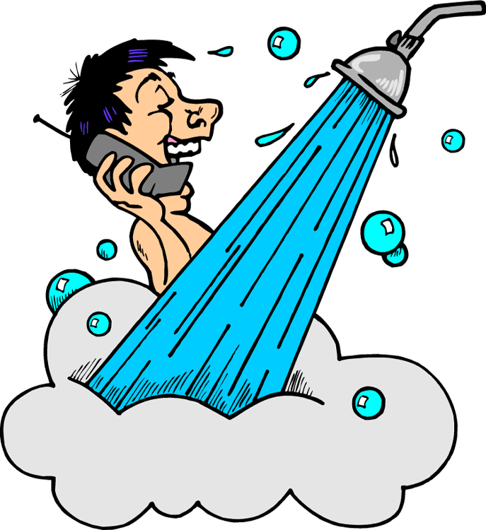 Taking A Shower Clipart.