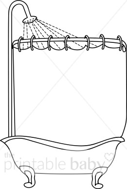 Black and White Shower Tub Clipart.
