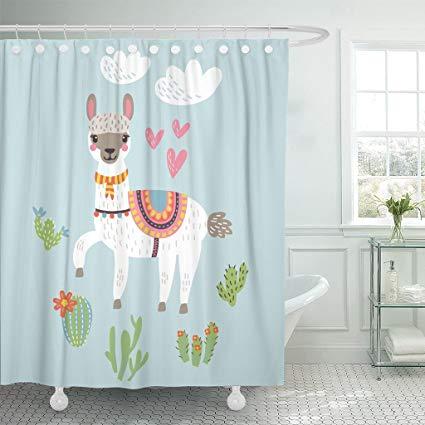 Amazon.com: Emvency Shower Curtain Clipart Llama Alpaca Lama.