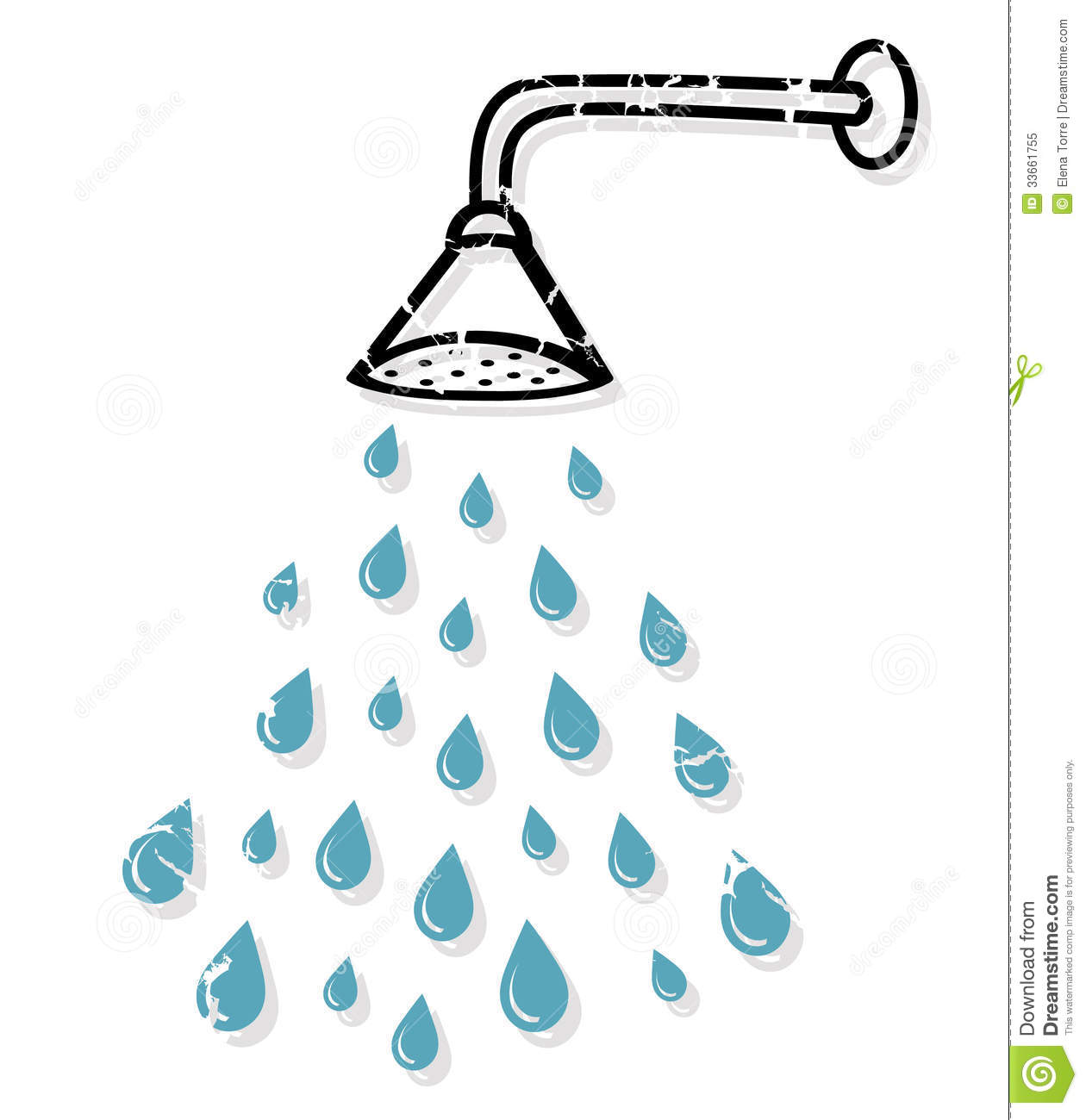 Clipart Of Shower Head And Water.