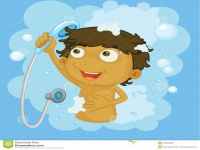 Kid Taking A Shower Clipart.