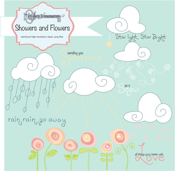 Showers and Flowers Clipart ~ Graphics on Creative Market.