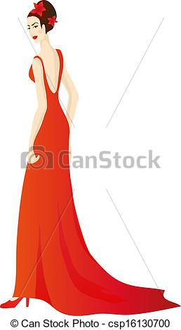 Vector Clipart of Beautiful girl in splendid evening red dress.