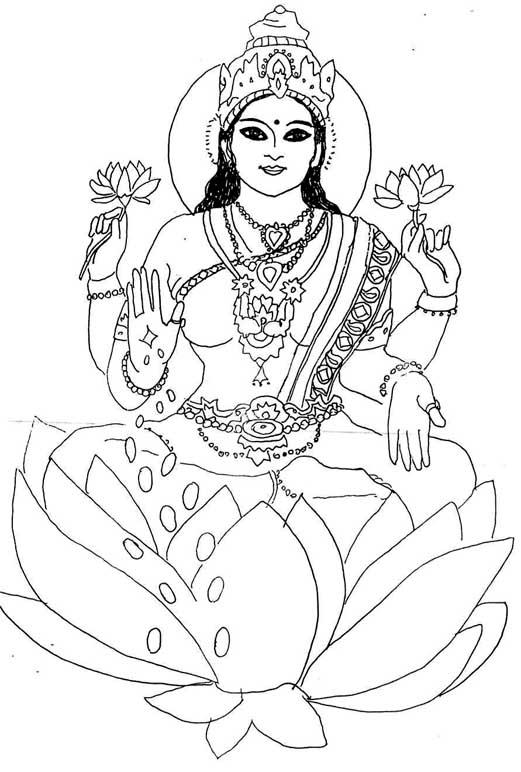 lakshmi coloring pages shri lakshmi clipart clipground