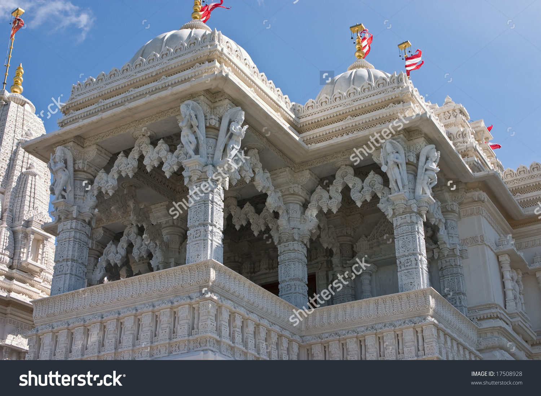 Balcony Of The Mandir Shri Swaminarayan Temple In Toronto Stock.