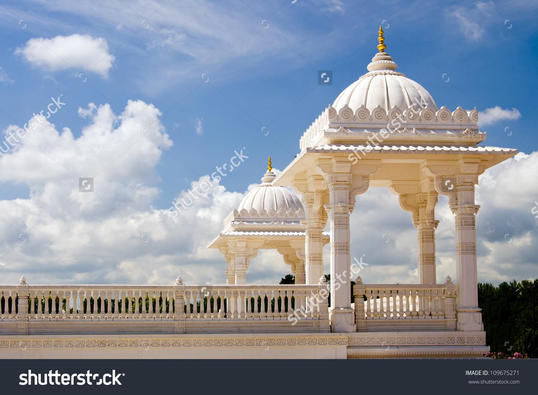 Towers Hindu Temple Baps Swaminarayan Sanstha Stock Photo.