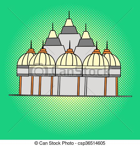 Vector Clipart of Shri Swaminarayan Mandir pop art vector.