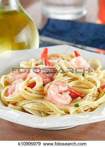 Stock Photograph of Tasty Shrimp Fettuccine Alfredo k10995979.