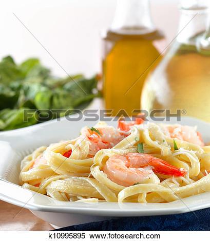 Stock Image of Tasty Shrimp Fettuccine Alfredo k10995895.