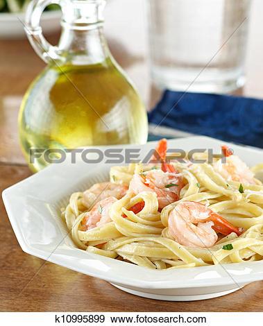 Stock Photograph of Tasty Shrimp Fettuccine Alfredo k10995899.