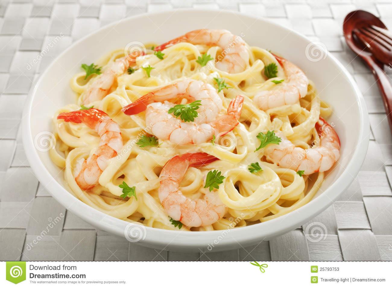 Shrimp Fettuccine Alfredo Close Up Stock Image.