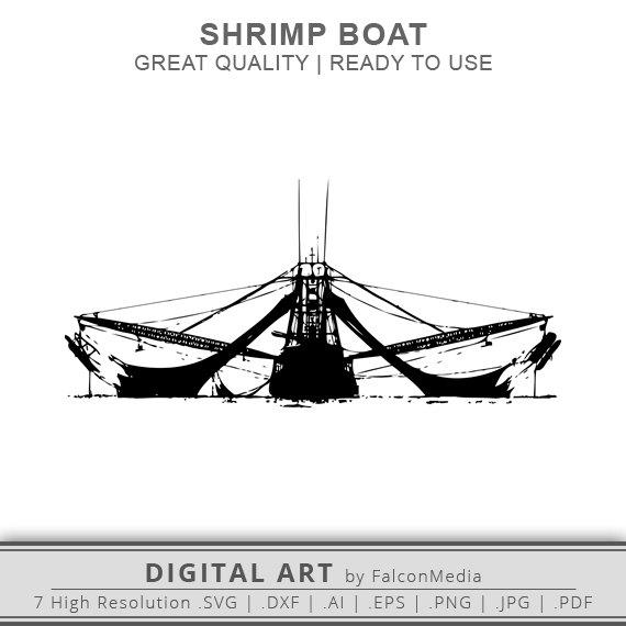 Shrimp Boat Silhouette Shrimp Boat Clip Art DXF SVG by FalconMedia.