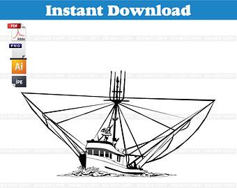 Shrimp boat clip art.