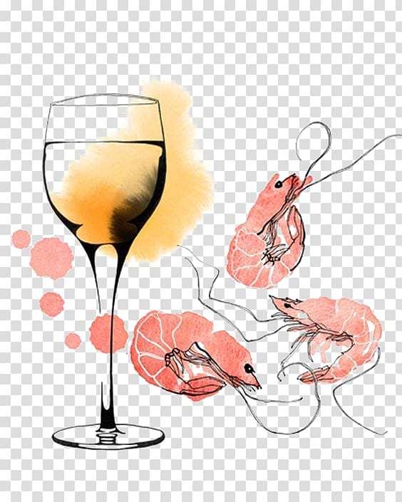 Red Wine Prawn cocktail Caridea, And shrimp cocktail.