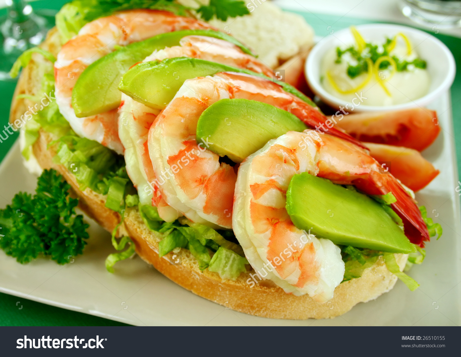 Delightful Fresh Shrimp And Avocado Open Sandwich With Lemon.
