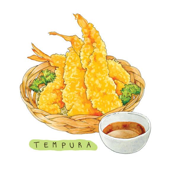 Clip art Shrimp Tempura / Watercolor Vector / PNG and by Binimal.