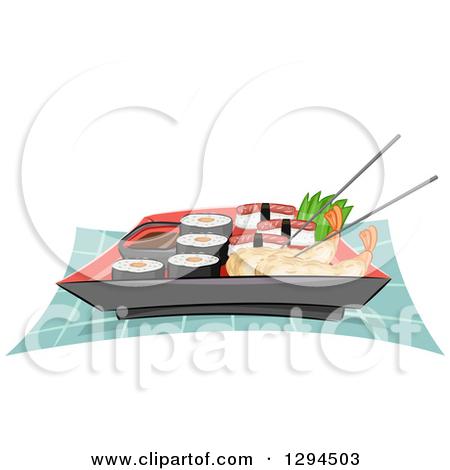 Clipart of Chopsticks Holding a Piece of Tempura Shrimp in an.