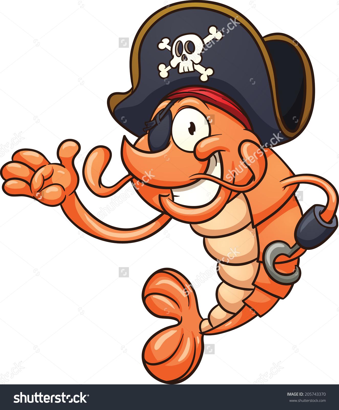 Pirate Shrimp Vector Clip Art Illustration Stock Vector 205743370.