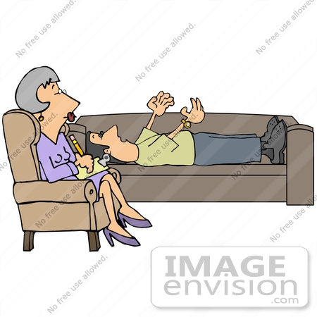 Clip Art Graphic of an Emotional Caucasian Man Lying On A Couch.