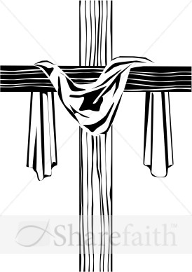 Wooden Cross with Shroud Image.
