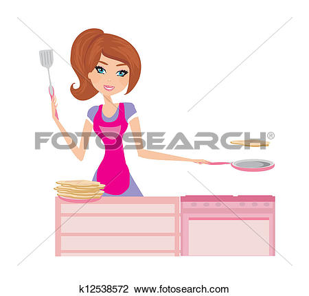 Clipart of Chef girl fries pancakes on Shrovetide it is isolated.