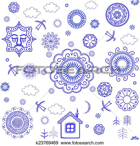 Clip Art of Shrovetide wallpaper with blue pattern k23769469.