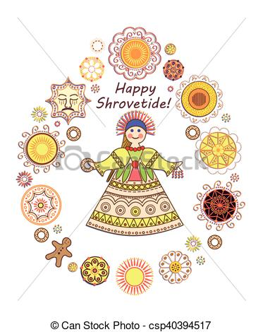 Vector Clip Art of Greeting Shrovetide card with pancakes and girl.