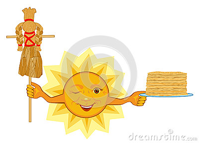 Sun Celebrates Shrovetide Celebration Stock Illustration.