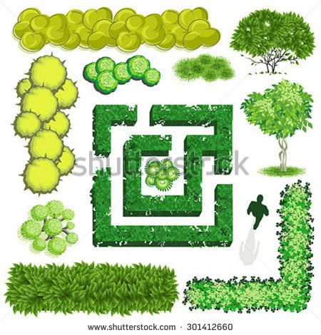 Trees and bush item top view for landscape design, vector.