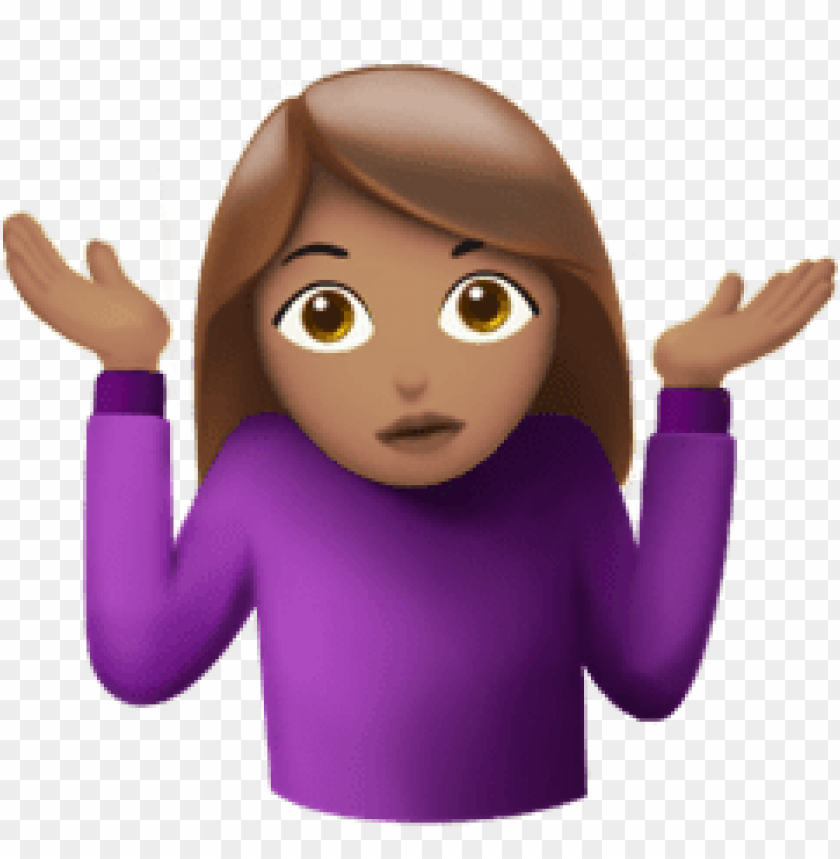 Download shrug emoji woman clipart png photo.