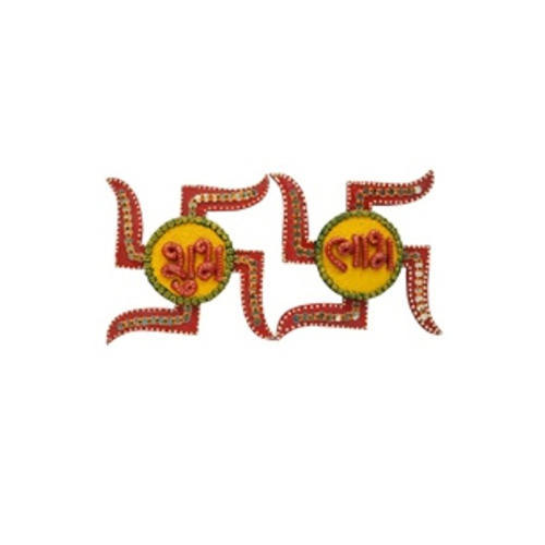 Wooden Paper Mache Swastika Shaped Shubh Labh With Kundan.