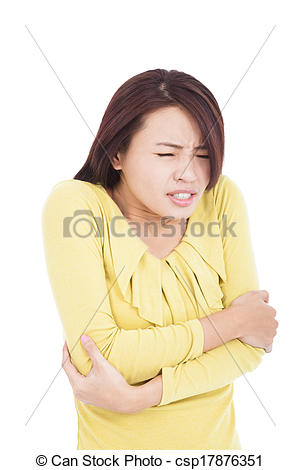 Stock Images of Young woman shudder and tightening body.