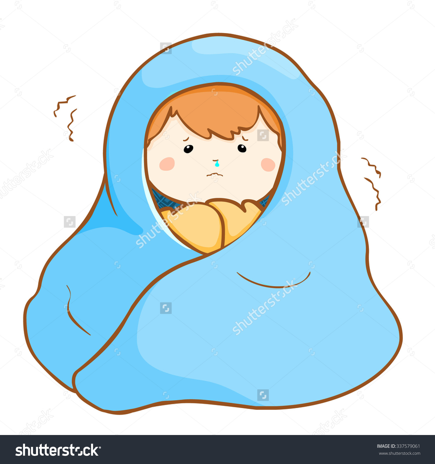 Child with fever clipart.
