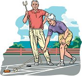 Couple Playing Shuffleboard Clipart vectoriel.